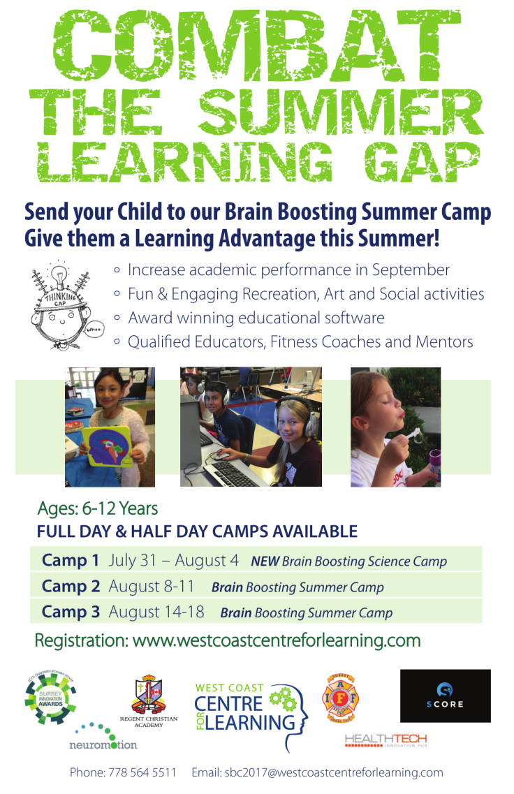 West Coast Centre for Learning Brain Booster Summer Camp 2017